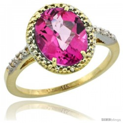 14k Yellow Gold Diamond Pink Topaz Ring 2.4 ct Oval Stone 10x8 mm, 1/2 in wide -Style Cy406111