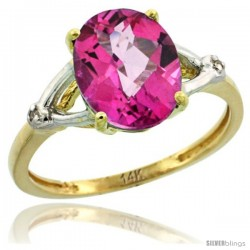 14k Yellow Gold Diamond Pink Topaz Ring 2.4 ct Oval Stone 10x8 mm, 3/8 in wide