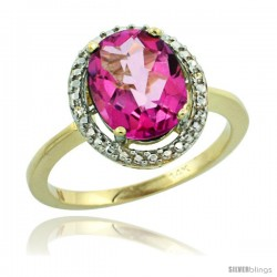 14k Yellow Gold Diamond Pink Topaz Ring 2.4 ct Oval Stone 10x8 mm, 1/2 in wide -Style Cy406114