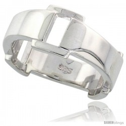 Sterling Silver Buckle Ring Flawless finish Band, 5/16 in wide