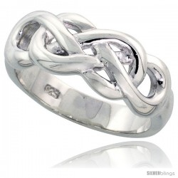 Sterling Silver Celtic Knot Ring Flawless finish Band, 5/16 in wide