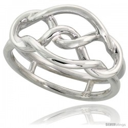 Sterling Silver Wire Knot Ring Flawless finish Band, 7/16 in wide
