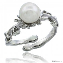 Sterling Silver Floral Wire Pearl Ring 5/16 in. (8 mm) wide