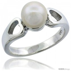 Sterling Silver Double Heart Cut Out Pearl Ring 1/4 in. (6.5 mm) wide