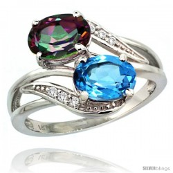 14k White Gold ( 8x6 mm ) Double Stone Engagement Swiss Blue & Mystic Topaz Ring w/ 0.07 Carat Brilliant Cut Diamonds & 2.34