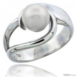 Sterling Silver Loop Pearl Ring 1/2 in. (12 mm) wide