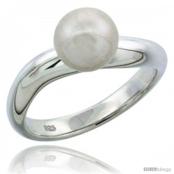 Sterling Silver Wavy 7.5mm Pearl Ring 1/8 in. (3.5 mm) wide