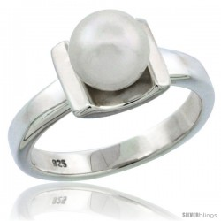 Sterling Silver 7.5mm Pearl Ring 1/8 in. (3 mm) wide