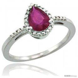 10k White Gold Diamond Ruby Ring 0.59 ct Tear Drop 7x5 Stone 3/8 in wide