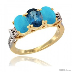 10K Yellow Gold Natural London Blue Topaz & Turquoise Sides Ring 3-Stone Oval 7x5 mm Diamond Accent