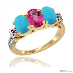 10K Yellow Gold Natural Pink Topaz & Turquoise Sides Ring 3-Stone Oval 7x5 mm Diamond Accent
