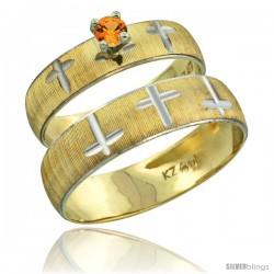 10k Gold 2-Piece 0.25 Carat Orange Sapphire Ring Set (Engagement Ring & Man's Wedding Band) Diamond-cut Pattern -Style 10y508em