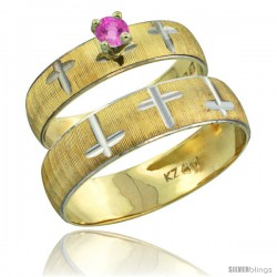 10k Gold 2-Piece 0.25 Carat Pink Sapphire Ring Set (Engagement Ring & Man's Wedding Band) Diamond-cut Pattern -Style 10y508em