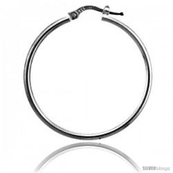 Sterling Silver Italian 2mm Tube Hoop Earrings, 1 3/8 in (35 mm)