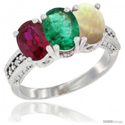 10K White Gold Natural Ruby, Emerald & Opal Ring 3-Stone Oval 7x5 mm Diamond Accent