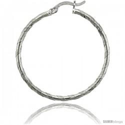 "Sterling Silver 2mm Tube Candy Striped Hoop Earrings, 1 3/8"" (35 mm)"