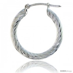 "Sterling Silver 3mm Tube Candy Striped Hoop Earrings, 1"" (25 mm)"