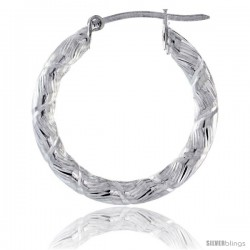 "1"" ( 25 mm ) Sterling Silver 3mm Tube Candy Striped Diamond Cut Hoop Earrings"