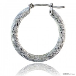 """1"""" ( 25 mm ) Sterling Silver 3mm Tube Zigzag Pattern Diamond Cut Hoop Earrings -Style H325g"""
