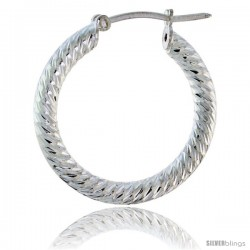 "1"" ( 25 mm ) Sterling Silver 3mm Tube Spiral Design Diamond Cut Hoop Earrings"