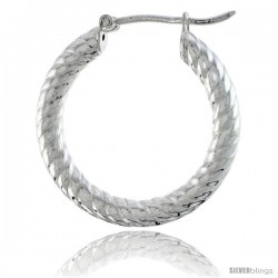 "1"" ( 25 mm ) Sterling Silver 3mm Tube Spiral Design Diamond Cut Hoop Earrings -Style H325k"