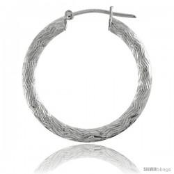 """1 1/16"""" ( 27 mm ) Sterling Silver 3mm Tube Zigzag Pattern Diamond Cut Hoop Earrings"""