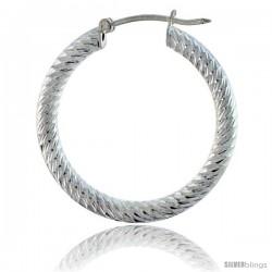 "1 1/16"" ( 27 mm ) Sterling Silver 3mm Tube Spiral Design Diamond Cut Hoop Earrings"