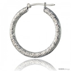 "1 1/16"" ( 27 mm ) Sterling Silver 3mm Tube Diamond Cut Hoop Earrings"