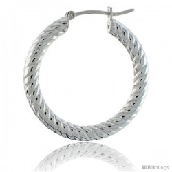 "1 1/16"" ( 27 mm ) Sterling Silver 3mm Tube Spiral Design Diamond Cut Hoop Earrings -Style H327k"