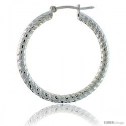 Sterling Silver Italian 3mm Tube Hoop Earrings Candy Striped Diamond Cut, 1 1/4 in Diameter