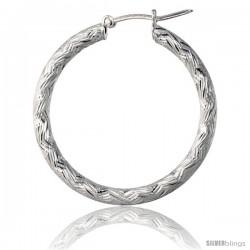 Sterling Silver Italian 3mm Tube Hoop Earrings Zigzag Pattern Diamond Cut, 1 1/4 in Diameter