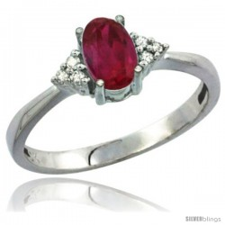 10K White Gold Natural Ruby Ring Oval 7x5 Stone Diamond Accent
