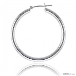 Sterling Silver Italian 3mm Tube Hoop Earrings, 1 1/2 in (36 mm)