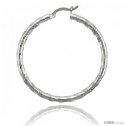 "Sterling Silver 3mm Tube Candy Striped Hoop Earrings, 1 9/16"" (40 mm)"
