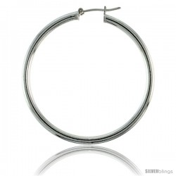 Sterling Silver Italian 3mm Tube Hoop Earrings, 1 3/4 in (45 mm)