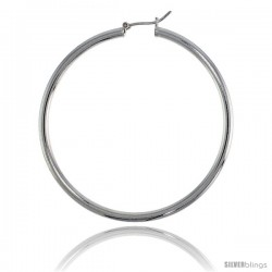 Sterling Silver Italian 3mm Tube Hoop Earrings, 2 1/4 in (57 mm)