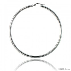 Sterling Silver Italian 3mm Tube Hoop Earrings, 2 1/2 in (65 mm)