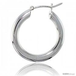Sterling Silver Italian 4mm Tube Hoop Earrings, 7/8 in (23 mm)