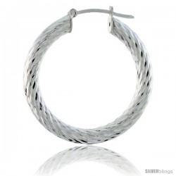 Sterling Silver Italian 3mm Tube Hoop Earrings Twist Design Diamond Cut, 1 3/8 in Diameter