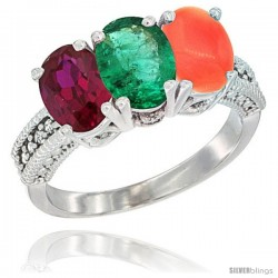 10K White Gold Natural Ruby, Emerald & Coral Ring 3-Stone Oval 7x5 mm Diamond Accent