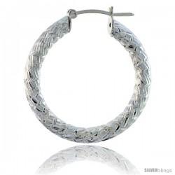 Sterling Silver Italian 3mm Tube Hoop Earrings Zigzag Pattern Diamond Cut, 1 3/8 in Diameter