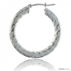 Sterling Silver Italian 3mm Tube Hoop Earrings Candy Striped Diamond Cut, 1 3/8 in Diameter -Style H430e