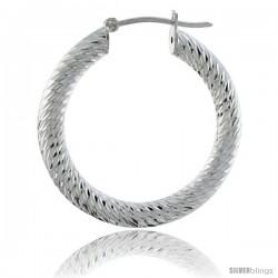 Sterling Silver Italian 3mm Tube Hoop Earrings Zigzag Pattern Diamond Cut, 1 3/8 in Diameter -Style H430g
