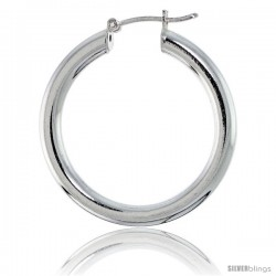 Sterling Silver Italian 4mm Tube Hoop Earrings, 1 1/4 in (32 mm)