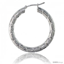 Sterling Silver Italian 3mm Tube Hoop Earrings Candy Striped Diamond Cut, 1 3/8 in Diameter -Style H435c