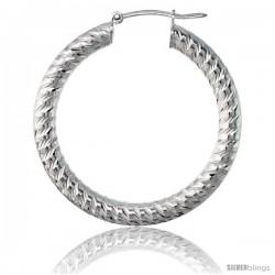 Sterling Silver Italian 3mm Tube Hoop Earrings Spiral Design Diamond Cut, 1 3/8 in Diameter -Style H435f