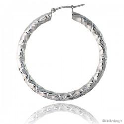 Sterling Silver Italian 3mm Tube Hoop Earrings Candy Striped Diamond Cut, 1 1/2 in Diameter