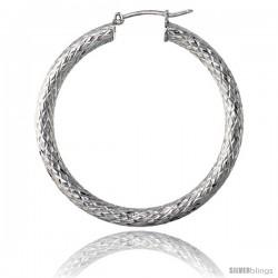 Sterling Silver Italian 3mm Tube Hoop Earrings Diamond Cut, 1 1/2 in Diameter