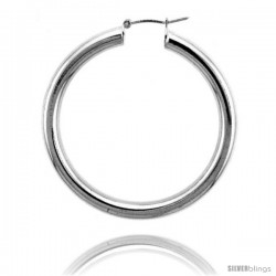 Sterling Silver Italian 4mm Tube Hoop Earrings, 1 3/4 in (43 mm)