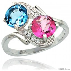 14k White Gold ( 7 mm ) Double Stone Engagement Swiss Blue & Pink Topaz Ring w/ 0.05 Carat Brilliant Cut Diamonds & 2.34 Carats